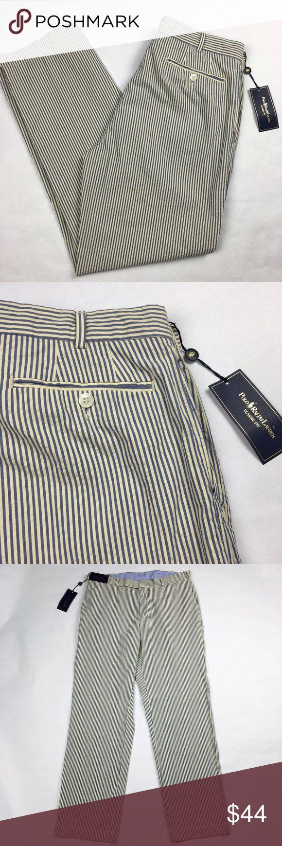 Polo Ralph Lauren Blue Seersucker Pants 34x30 Polo Ralph Lauren Blue Cream Seersucker Pants  • 34x30 • Classic fit • Flat front  • NWT Polo by Ralph Lauren Pants