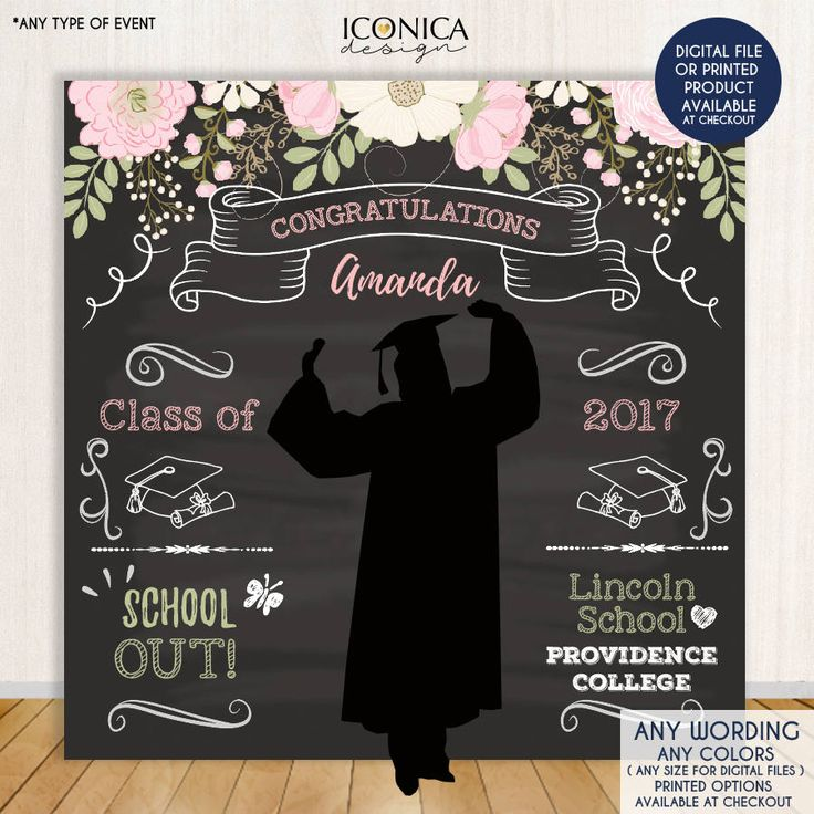 Graduation Photo Booth Background, Floral Graduation Step and Repeat Background, Congrats Degree, Banner Printed or Printable File BGR0004