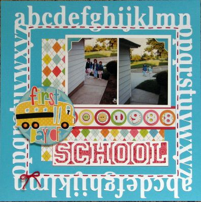 """For the sketch challenge.  It turned out a bit differently than I had planned, LOL!  The alphabet die-cut frame was cut with my Cricut and the Graphically Speaking cart.  """"School"""" was also cut with Graphically Speaking.  The school bus was cut using Stretch Your Imagination.  All PPs and stickers are Echo Park Sweet Summertime.  Chipboard buttons are Making Memories.  Numbers are Delight fabric Thickers.  TFL!"""