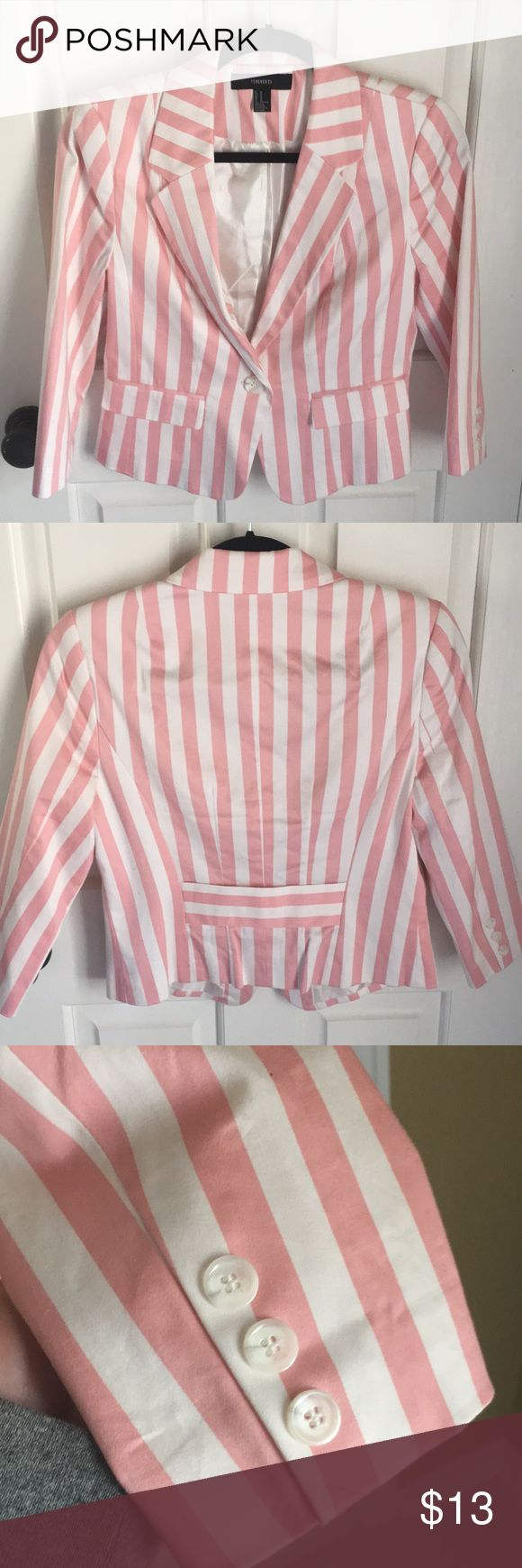 Forever 21 White and Light Pink Blazer Size medium - slightly cropped formal Blazer. WORN ONCE - LIKE NEW CONDITION. Forever 21 Jackets & Coats Blazers