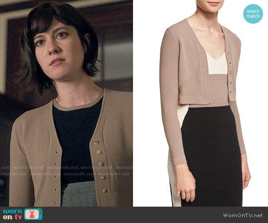 Laurel's light brown cropped cardigan on BrainDead.  Outfit Details: https://wornontv.net/59620/ #BrainDead