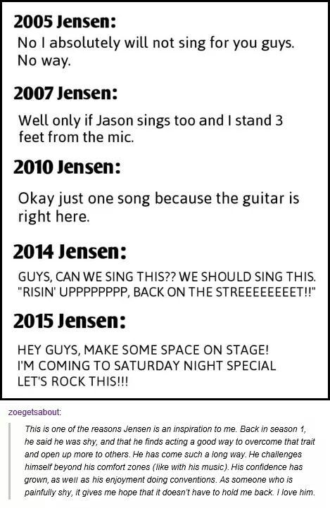 Jensen's development <3 <--I didn't really know this about him and wow that's really inspirational to me.