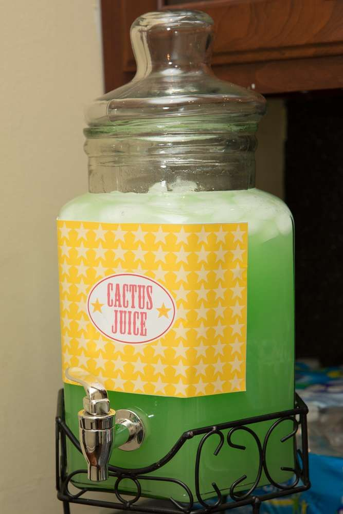 Cactus juice at a cowgirl birthday party! See more party planning ideas at CatchMyParty.com!