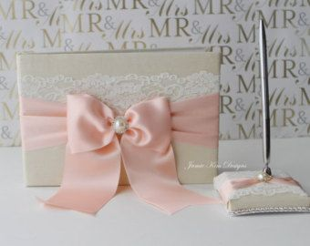 Wedding Guest Book. Sign in Book and pen set by jamiekimdesigns