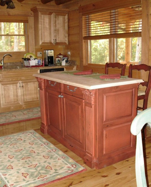 Kitchen islands, Green colors and Log homes on Pinterest