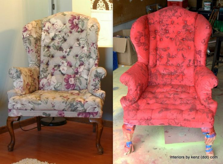 fabric spray paint does NOT work on patterned upholstery.  other tips & tricks on fabric spray paint (blog post)