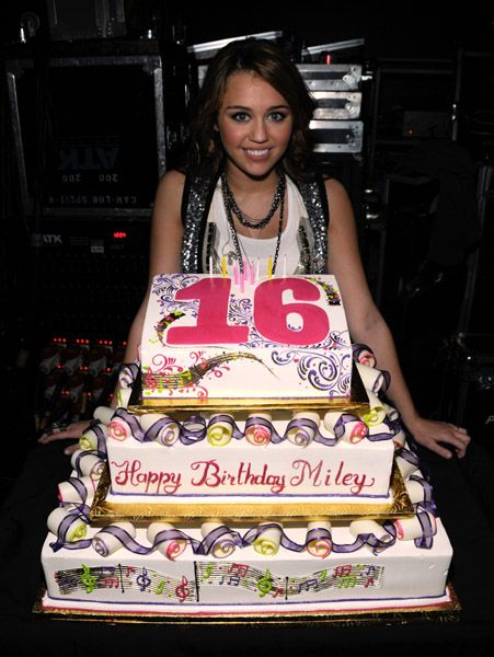 sweet 16 cakes | Miley Cyrus Celebrates Her Sweet Sixteen At The AMAs// | Neon ...