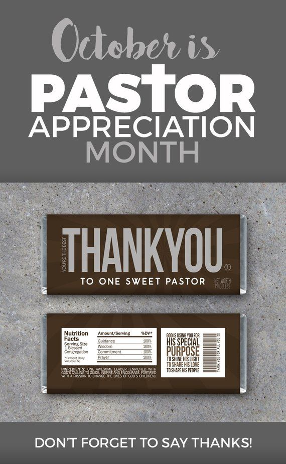 Thank You Pastor Appreciation Candy Bar Wrappers Printable Instant Download Pastor Appreciation Gift Idea Religious Christian Gifts Pastor