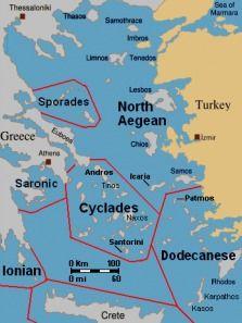Greek islands west of mainland