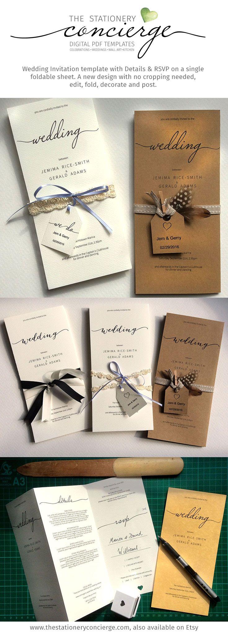 Printable Wedding Invitation One sheet wedding invitation