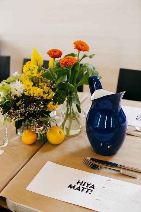 Fresh and simple table setting.  Flowers by #BloomingBrides, Photos by #LoveKatieandSarah, Graphics by http://www.belindasmullen.com.au