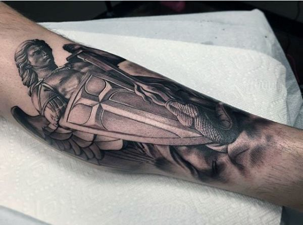 Small Guy's Tattoo Of Saint Michael With Shield                              …