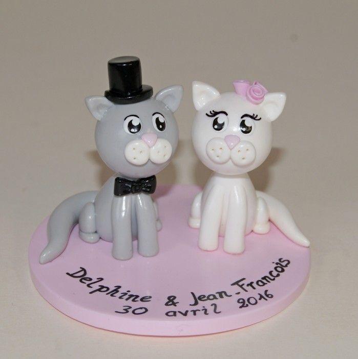 Wedding cake topper / figurines de mariage personnalisées / chat