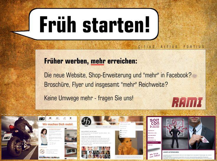 ✓ Mehr Kunden. Mehr Aufträge. Starten Sie früher, profitieren Sie eher. Fragen Sie uns - wir bringen Ihnen mehr. http://fb.rami-media.de