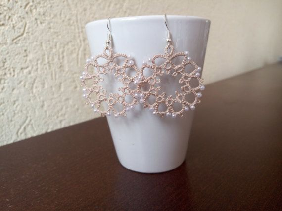 Round Beige Tatted Lace Earrings with White Pearls by EstaTatting
