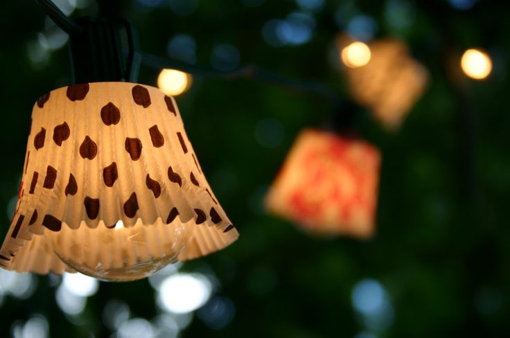 Outdoor lights made with cupcake tin liners. Adorable!