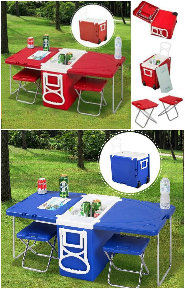 10 Camping Tips and Gadgets You'll Love This Summer -Rolling Cooler With Picnic Table And Chairs, Camping Hacks #Camping, #Furniture