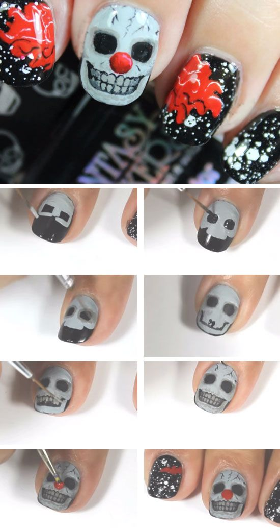 Creepy Skull Clown | Click Pic for 23 Spooky Nail Art Ideas for Halloween | DIY…