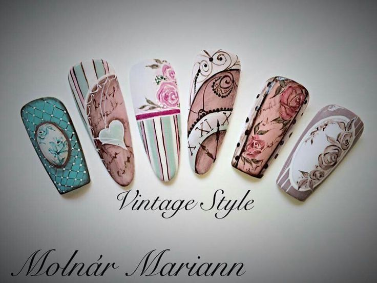 Vintage | oh nails en 2019 | Nail art designs, Vintage ...