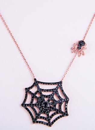 Black Spider Web & Spider Rose Gold Plated Necklace #halloween #jewelry