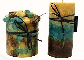 Cotton Daze by Cotton Creek  ratingratingratingratingrating  Price: From $7.00 to $18.00  These wonderful smelling candles come in three sizes: 3x4 round, 4x4 round and 3x4 square. Fresh as the outdoors, these candles are green, cream and brown. The 3x4 round candle has chunks of candle wax on the top while the 4x4 round and the 3x4 square are pillar candles