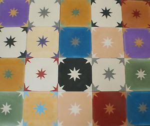 1m² Zementfliesen mediterrane spanische Fliesen Vintage Patchwork bunte Sterne   eBay