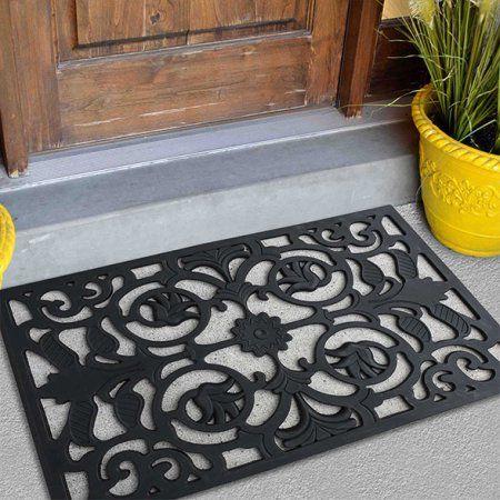 Fh Group Indoor Outdoor 18 Inch X 30 Inch Black Rubber Door Mat
