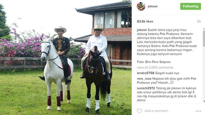 Prabowo Komentari Jokowi yang Naiki Kuda Putih Saat di Bogor