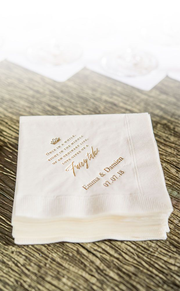 Perfect For Your Modern Fairy Tale Here Is An Exquisite Napkin Design That Sums It Up Perf Wedding Napkins Personalized Custom Wedding Napkins Wedding Napkins
