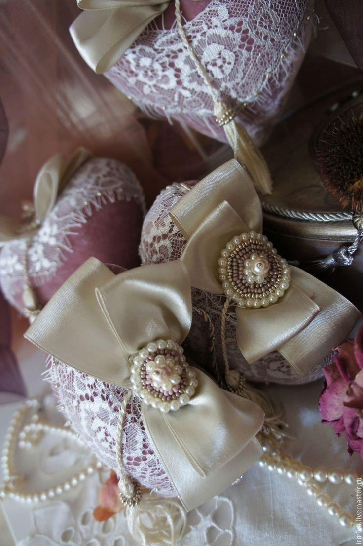 Купить Интерьерные подвески. Сердца. Винтаж. Розовый. - розовый, пыльно-розовый, розовый пыльный, винтаж