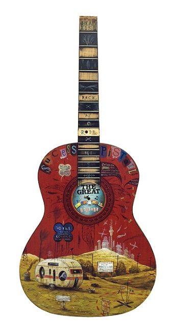'Reck 'n' Rule Swindle' (acrylic on guitar) by Dean Raybould.