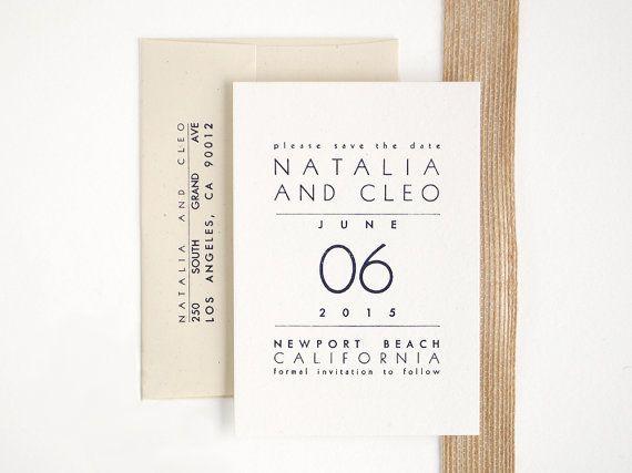Newport Letterpress Save the Date  Modern Wedding by seabornpress, $195.00