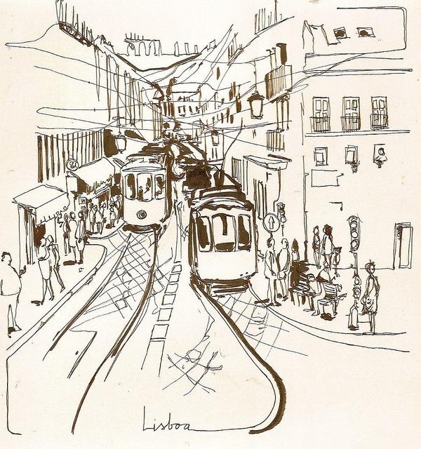 Lisboa, via Flickr....ik wou dat ik zo kon schetsen
