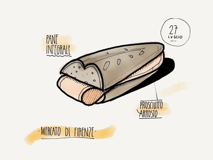 Panino con prosciutto arrosto - Firenze - food Illustration