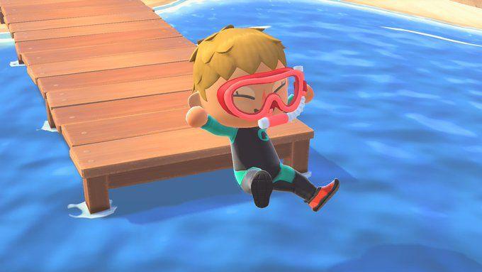 Pour Nous Remercier D Avoir Installe La Mise A Jour Nintendo Nous Enverra Un Tuba Diving Mask Animal Crossing Dieren Zeedieren