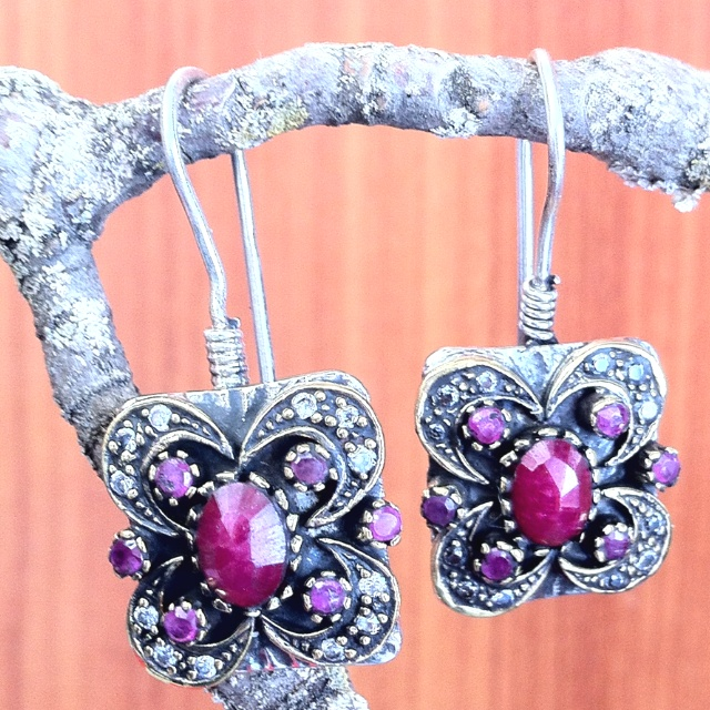 Sterling Silver, faceted ruby and crystal drop  earrings. Turkish jewelry, $35