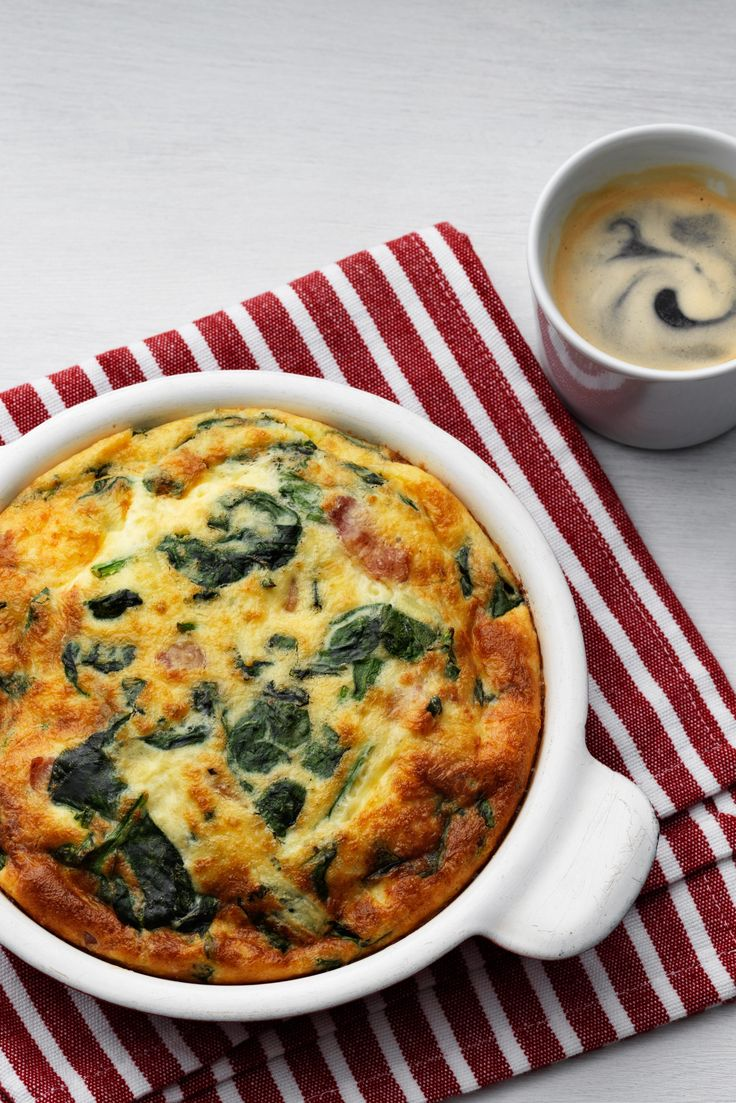 Low-Carb Frittata with Fresh Spinach...you can lower the fat by making healthier meat substitutions such as lean ground beef.