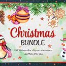Watercolor Christmas Collection: 185 Elements + Bonus 47 Illustrations - only $18!
