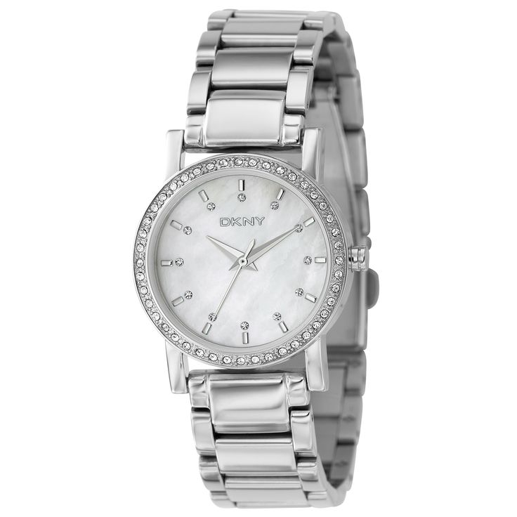 The sleek mother of pearl dial of this DKNY women's watch houses silver hands and stick indices. The case and bracelet of this timepiece are made of silvertone stainless steel.