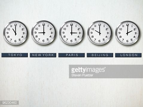 Stock Photo : International time zone clocks on wall