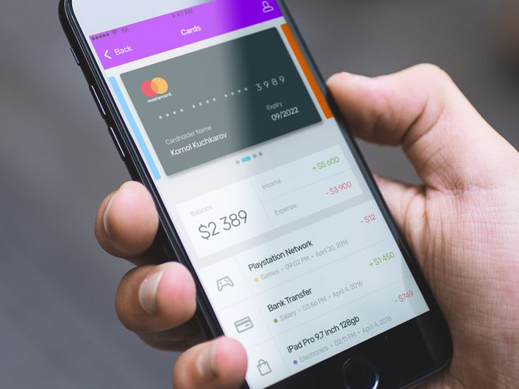 A shot from the Naqdy app that I designed, showing the Card, balance and payments interface