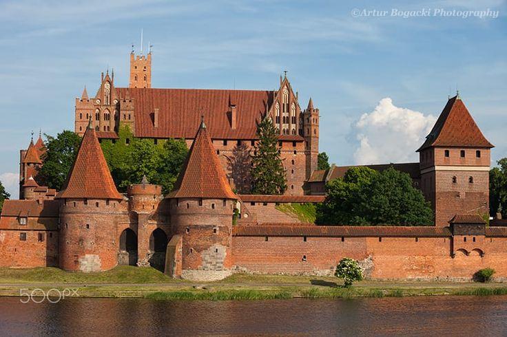 Malbork Castle in Poland, medieval fortress at the Nogat River