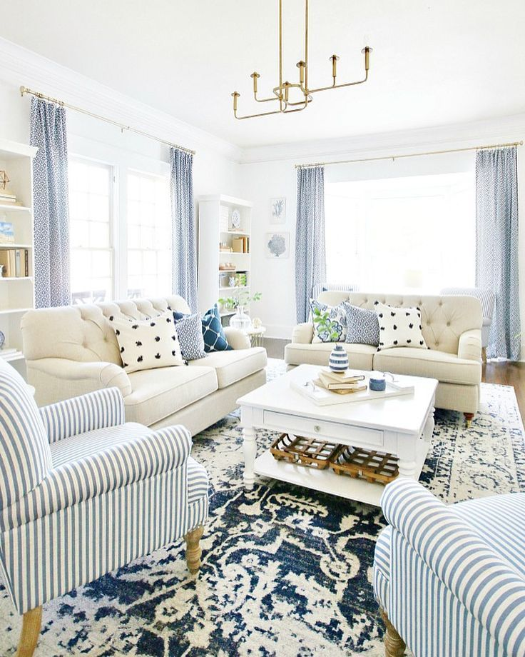 Classic Living Room Inspiration Navy And Light Blue Touches Farm House Living Room Country Living Room Design Blue And White Living Room #navy #blue #farmhouse #living #room