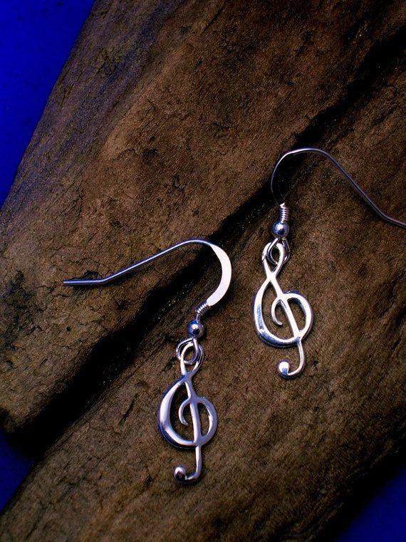 Zilveren Solsleutel oorbellen muziek oorbellen, Handmade, G-clef oorbellen, Sterling Zilver, sieraden van de muziek.