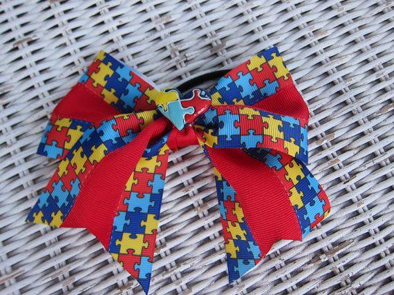 Autism awareness hair bow cheerleading bow by Sassygirlheadbands, $10.00