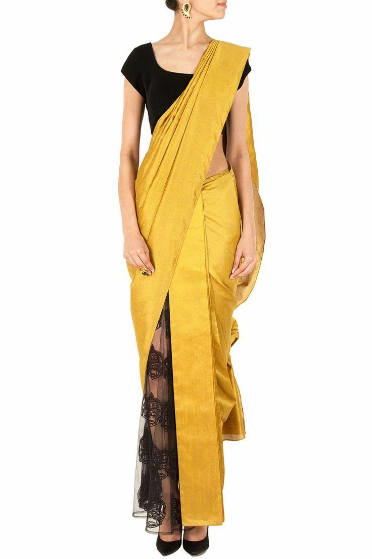 Half silk and half net sari BY NIKHIL THAMPI. Shop now at perniaspopupshop.com