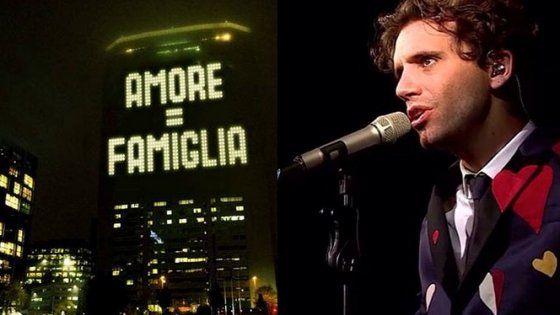 Maxi messaggio contro il ddl Cirinnà. Il cantante cambia la scritta, e anche il web si scatena. Pioggia di critiche sul profilo Fb