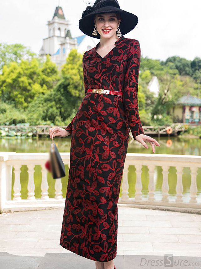 4e60a5e6ab86e Buy Long Sleeve V-Neck Sheath Print Maxi Dress Without Belt with High  Quality and Lovely Service at DressSure.com