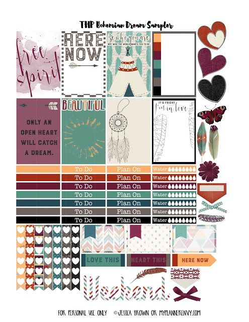 FREE PDF STUDIO printable print and cut files. Free Printable Bohemian Dreams Sampler for The Happy Planner on (REMEMBER you can just use the cut lines on coloured card you don't have to do the print bit...) myplannerenvy.com tabs feathers butterfly flower tab check list tabs etc