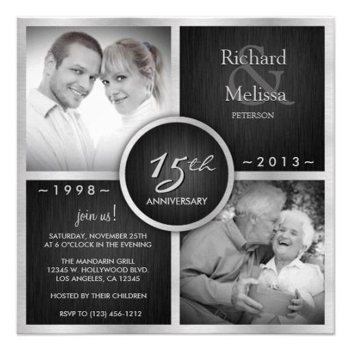 Elegant Black and Silver 15th Wedding Anniversary Personalized Invites